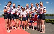 Brandenburg. GERMANY. GBR W8+, Bow Katie GREVES Mel WILSON, Frances HOUGHTON. Polly SWANN, Jessica EDDIE, Olivia CARNEGIE-BROWN, Karen BENNETT, Zoe LEE and cox, Zoe DE TOLEDO. gold medalist Women's eight. 2016 European Rowing Championships at the Regattastrecke Beetzsee<br /> <br /> Sunday  08/05/2016<br /> <br /> [Mandatory Credit; Peter SPURRIER/Intersport-images]