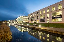 Night view of modern business district in Edinburgh Park development in Edinburgh, Scotland, United Kingdom