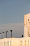 Architectural detail of Hassan II Mosque against blue sky, Casablanca, Morocco