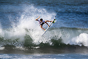Noa Mizuno of Hawaii advances to round two after placing second in round one heat 16 of the 2018 Hawaiian Pro at Haleiwa, Oahu, Hawaii, USA.