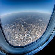 Flying over downtown Atlanta on a Delta flight from Kansas City to Atlanta where I connected to a flight to San Juan.