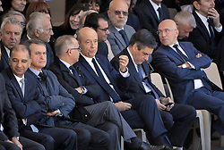 Francois Fillon and Alain Juppe attending the National Ceremony for the 86 victims of Nice terror attack on last 14th July 2016 at the Colline du Château in Nice, southern France, on october 15, 2016. Ministers and politicians in front of about 2000 people including the victims families and rescue forces participated ceremony. Photo by Pierre Rousseau/CIT'images/ABACAPRESS.COM
