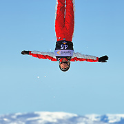 Danielle Scott (AUS) performs aerial acrobatics during the 2009 Sprint US Freestyle Championships held at the Utah Olympic Park in Park City on March 8, 2009.