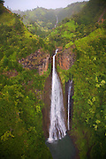 Aerial of Manawaiopuna Falls,  more famously known as the Jurassic Falls because it was featured in the movie.  Kauai, Hawaii.
