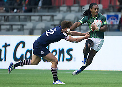 March 12, 2016 - Vancouver, BC, Canada - South Africa's Branco du Preez, right, is held up by Scotland's Gavin Lowe during World Rugby Sevens Series' Canada Sevens tournament action, in Vancouver, B.C., on Saturday March 12, 2016. THE CANADIAN PRESS/Darryl Dyck (Credit Image: © Darryl Dyck/The Canadian Press via ZUMA Press)