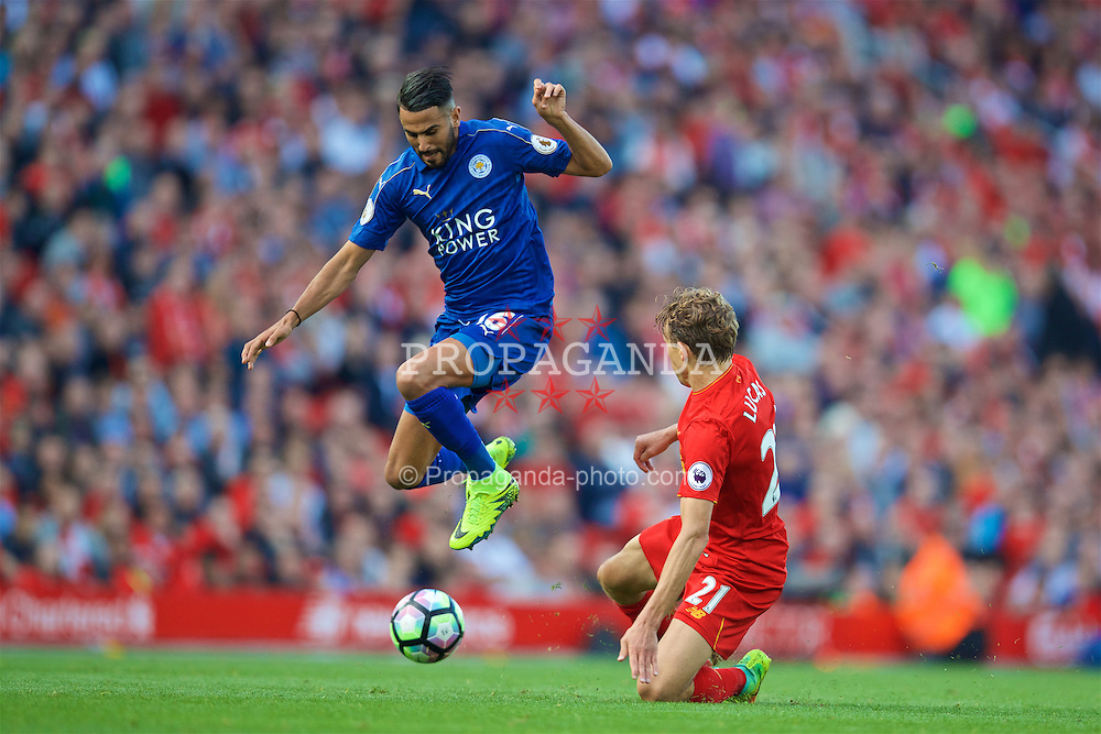 LIVERPOOL, ENGLAND - Saturday, September 10, 2016: Liverpool's Lucas Leiva in action against Leicester City's Riyad Mahrez during the FA Premier League match at Anfield. (Pic by David Rawcliffe/Propaganda)