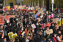 © Licensed to London News Pictures. 01/05/2021. London, UK. Protesters take part in the annual May Day demonstrations in Central London. Groups including Kill The Bill and Sisters Uncut are protesting on issues including  Government's proposed Police, Crime, Sentencing and Courts Bill and workers rights. Photo credit: London News Pictures