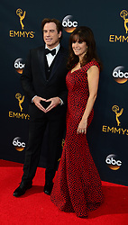 September 18, 2016 - Los Angeles, California, United States - John Travolta and Kelly Preston arrives at the 68th Annual Emmy Awards at the Microsoft Theater in Los Angeles, California on Sunday, September 18, 2016. (Credit Image: © Michael Owen Baker/Los Angeles Daily News via ZUMA Wire)
