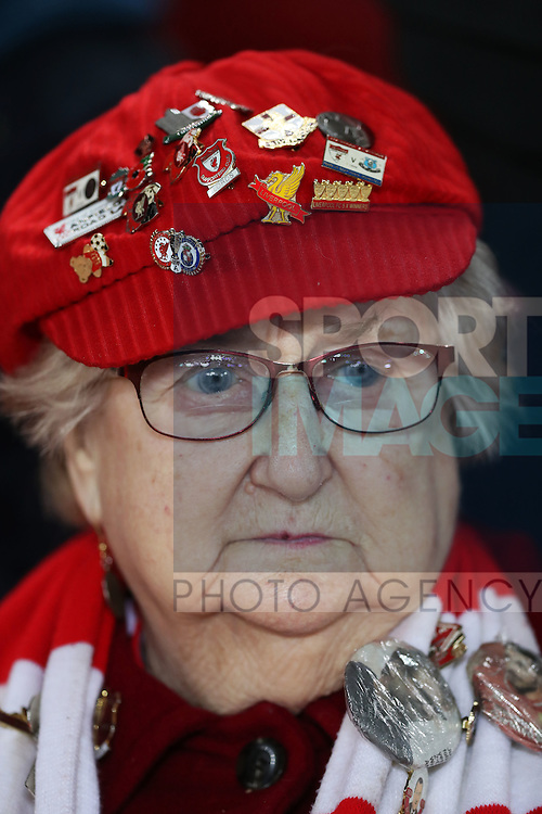 Liverpool fan before the English Premier League match at Anfield Stadium, Liverpool. Picture date: December 31st, 2016. Photo credit should read: Lynne Cameron/Sportimage