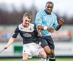 Falkirk's Craig Sibbald and Dundee's Christian Nade.<br /> Falkirk 2 v 0 Dundee, Scottish Championship game at The Falkirk Stadium.<br /> © Michael Schofield.