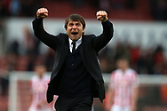Antonio Conte , the Chelsea manager celebrates his teams win at the end of the game.  Premier league match, Stoke City v Chelsea at the Bet365 Stadium in Stoke on Trent, Staffs on Saturday 18th March 2017.<br /> pic by Andrew Orchard, Andrew Orchard sports photography.