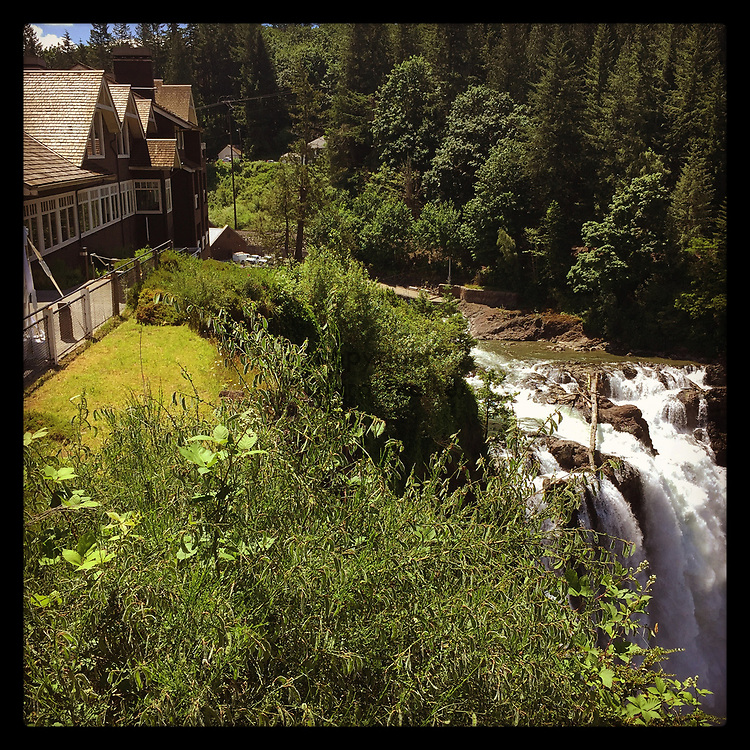 2017 JUNE 21 - View of Snoqualmie Falls and Salish Lodge on a sunny day near North Bend and Snoqualmie, WA, USA. Taken/edited with Instagram App for iPhone. By Richard Walker