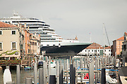 Cruise ship passing Giudecca Island. Venice, Italy, Europe