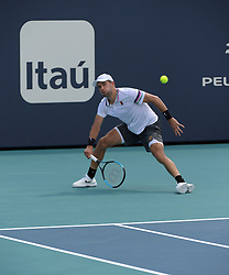 March 26, 2019 - Miami Gardens, Florida, United States Of America - MIAMI GARDENS, FLORIDA - MARCH 26: Borna Coric of Croatia defeats Nick Kyrgios of Australia during day 9 of the Miami Open presented by Itau at Hard Rock Stadium on March 26, 2019 in Miami Gardens, Florida...People: Borna Coric. (Credit Image: © SMG via ZUMA Wire)
