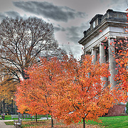 Fall trees in color outside of George Washington Hall on the University of Mary Washington campus in Fredericksburg, VA.