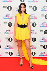Dua Lipa attending the BBC Radio 1 Teen Wards, at Wembley Arena, London. Picture date: Sunday October 22nd, 2017. Photo credit should read: Matt Crossick/ EMPICS Entertainment.