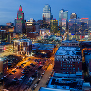 Skyline in late 2019 at downtown Kansas City, Missouri. Images shot to include the topped-out Loews Hotel at the Kansas City Convention Center.