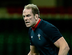 Alun Wyn Jones of Wales during the captains run<br /> <br /> Photographer Simon King/Replay Images<br /> <br /> Six Nations Round 5 - Wales v Ireland Captains Run - Saturday 15th March 2019 - Principality Stadium - Cardiff<br /> <br /> World Copyright © Replay Images . All rights reserved. info@replayimages.co.uk - http://replayimages.co.uk