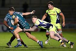 Mark Jennings of Sale Sharks tackles Alex Lewington of London Irish - Mandatory by-line: Matt McNulty/JMP - 15/09/2017 - RUGBY - AJ Bell Stadium - Sale, England - Sale Sharks v London Irish - Aviva Premiership