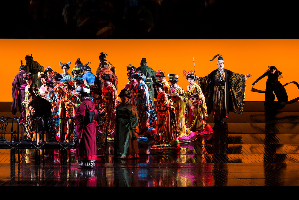 """LONDON, UK, 14 May, 2016. Memberes of the cast and chorus rehearse for the revival of director Anthony Minghella's production of Puccini's opera """"Madam Butterfly"""" at the London Coliseum for the English National Opera. The production opens on 16 May. Photo credit: Scott Rylander."""