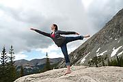 Dancer on a rock in the Rocky Mountains, McCullough Gulch, Breckenridge