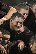 12 October 2002, NPC, Ranfurly Shield, Jade Stadium, Christchurch, New Zealand.<br />Canterbury vs Otago<br />C0-Captain Mark Hammett shares a smile after Canterbury defended the shield with a 16-13 win.<br />Pic: Sandra Teddy/Photosport
