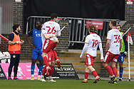 GOAL  Stevenage midfielder Tom Pett (26)  scores a goal 1-0 and celebrates during the EFL Sky Bet League 2 match between Stevenage and Carlisle United at the Lamex Stadium, Stevenage, England on 20 March 2021.