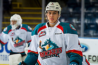 KELOWNA, CANADA - DECEMBER 29: Devin Steffler #4 of the Kelowna Rockets warms up against the Kamloops Blazers  on December 29, 2018 at Prospera Place in Kelowna, British Columbia, Canada.  (Photo by Marissa Baecker/Shoot the Breeze)