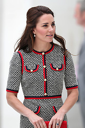 The Duchess of Cambridge during a visit to the  Victoria and Albert Museum in London to officially open the Museum's new entrance, courtyard and exhibition gallery. <br />