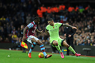 Aleksandar Kolarov of Manchester city (r) in action. Barclays Premier league match, Aston Villa v Manchester city at Villa Park in Birmingham, Midlands  on Sunday 8th November 2015.<br /> pic by  Andrew Orchard, Andrew Orchard sports photography.