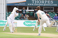 Robbie Rampaul batting during the Specsavers County Champ Div 2 match between Leicestershire County Cricket Club and Derbyshire County Cricket Club at the Fischer County Ground, Grace Road, Leicester, United Kingdom on 27 May 2019.
