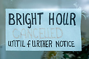 Notice that 'Bright Hour Cancelled until further notice' Covid 19 coronavirus service suspension, Pewsey, England