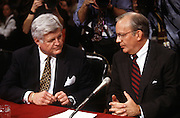 National Security Advisor Anthony Lake confers with Senator Ted Kennedy in the Senate Intelligence Committee hearing on his nomination as Director of the CIA March 11, 1997.