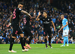 *Caption correction* Marquinhos of Paris Saint-Germain encourages his team mates - Mandatory byline: Matt McNulty/JMP - 07966386802 - 12/04/2016 - FOOTBALL - Etihad Stadium -Manchester,England - Manchester City v Paris Saint-Germain - UEFA Champions League - Quarter Final Second Leg