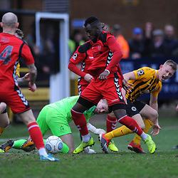 TELFORD COPYRIGHT MIKE SHERIDAN 2/3/2019 - Amari Morgan Smith of AFC Telford tries to force the ball home in a goalmouth scramble during the National League North fixture between Boston United and AFC Telford United at the York Street Jakemans Stadium