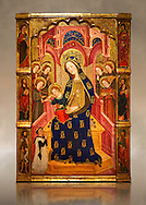 Gothic painted Panel Virgin of the Angels by  Enrique de Estencop. Tempera, stucco reliefs and gold leaf on wood. 1391-1392. Dimensions 142.2 x 99 x 8 cm.  National Museum of Catalan Art, Barcelona, Spain, inv no: 064025-000 .<br /> <br /> If you prefer you can also buy from our ALAMY PHOTO LIBRARY  Collection visit : https://www.alamy.com/portfolio/paul-williams-funkystock/romanesque-art-antiquities.html<br /> Type -     MNAC     - into the LOWER SEARCH WITHIN GALLERY box. Refine search by adding background colour, place, subject etc<br /> <br /> Visit our ROMANESQUE ART PHOTO COLLECTION for more   photos  to download or buy as prints https://funkystock.photoshelter.com/gallery-collection/Medieval-Romanesque-Art-Antiquities-Historic-Sites-Pictures-Images-of/C0000uYGQT94tY_Y