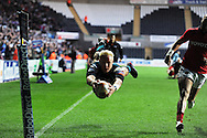 Hanno Dirksen dives over to score a try for the Ospreys. Rabodirect Pro12 rugby, play off semi final, Ospreys v Munster at the Liberty Stadium in Swansea on Friday 11th May 2012.  pic by Andrew Orchard, Andrew Orchard sports photography,