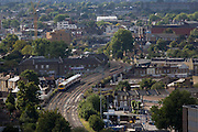 Aerial view of south London looking from Camberwell towards a commuter train crossing the capital.