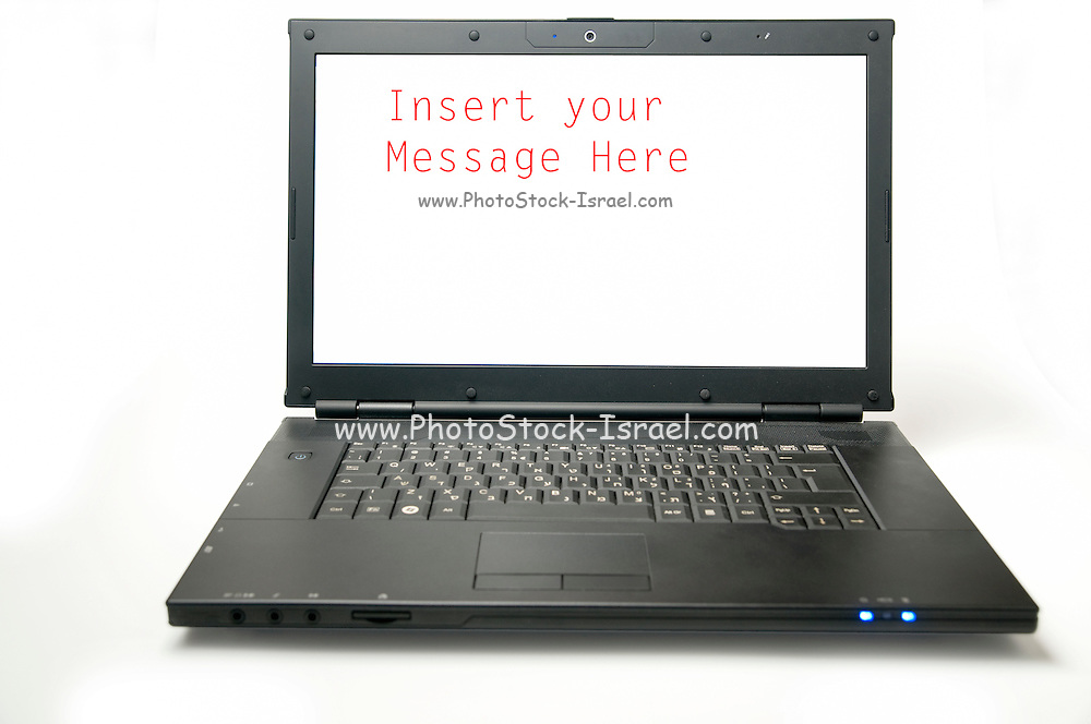 Cutout of a laptop computer and screen. The screen is blank to allow user to add his own image
