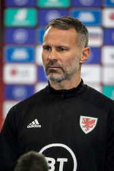 LONDON, ENGLAND - Thursday, October 8, 2020: Wales' manager Ryan Giggs is interviewed after the International Friendly match between England and Wales at Wembley Stadium. The game was played behind closed doors due to the UK Government's social distancing laws prohibiting supporters from attending events inside stadiums as a result of the Coronavirus Pandemic. England won 3-0. (Pic by David Rawcliffe/Propaganda)