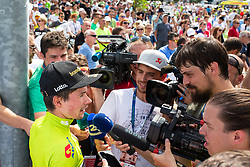 Primoz Roglic of Team Lotto NL Jumbo talking to journalists after 5th Time Trial Stage of 25th Tour de Slovenie 2018 cycling race between Trebnje and Novo mesto (25,5 km), on June 17, 2018 in  Slovenia. Photo by Matic Klansek Velej / Sportida