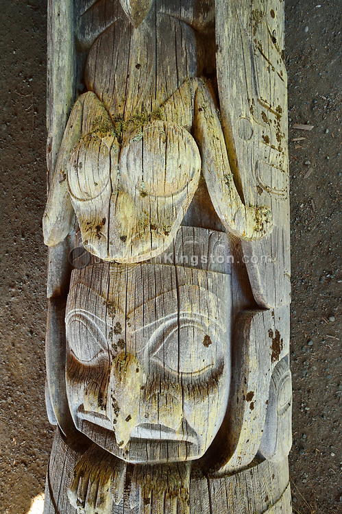 Detail view of a house frontal totem pole at the Haida Heritage Centre and museum near Skidegate, Haida Gwaii, British Columbia.