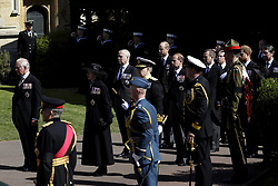 The Prince of Wales, the Princess Royal, the Duke of York, the Duke of Cambridge, the Earl of Wessex, Peter Phillips, the Earl of Snowdon, Vice Admiral Sir Timothy Laurence and the Duke of Sussex in the funeral procession outside St George's Chapel, Windsor Castle, Berkshire, during the funeral of the Duke of Edinburgh. Picture date: Saturday April 17, 2021.