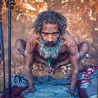 A Hindu Yogi practices his craft at Pashupatinath Temple in Kathmandu, Nepal, 1986.