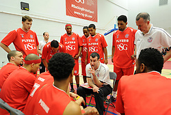 Bristol Flyers' coach, Andreas Kapoulas briefs his players before facing London Lions at SGS Wise Arena - Photo mandatory by-line: Paul Knight/JMP - Mobile: 07966 386802 - 28/03/2015 - SPORT - Basketball - Bristol - SGS Wise Arena - Bristol Flyers v London Lions - Bristol Basketball League