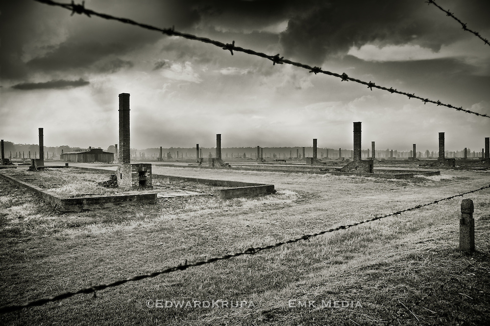 The remains of the prisoners huts Auschwitz 2, Birkenau, Poland.