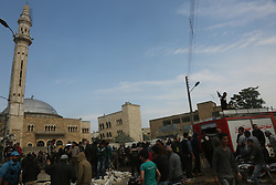 May 3, 2017 - Four people have been killed and approximately ten people have been injured by a car bomb blast in Syria's northern city of Azaz. The attack took place in the main open square of Azaz and among those killed are two Iraqis who had moved to Azaz to escape the war and violence in Iraq. Another victim is a Free Syrian Police officer from Azaz. The death toll may rise as several people have been seriously wounded by the blast. The town of Azaz has been a major hub for fighters and opposition activists, and the vehicle exploded near an office associated with Syria's pro-opposition interim government, although the building was not damaged in the attack. While nobody has claimed responsibility for the blast, some believe that either the Islamic State or the YPG Kurdish militia may be behind it. The town has been subject to previous attacks, some of which were claimed by the Islamic State group. The blast also coincides with the resumption of a new round of negotiations between the Syrian government and the opposition in the Kazakh capital, Astana (Credit Image: © Juma Mohammed/ImagesLive via ZUMA Wire)