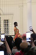 New York, New York-United States: A Model walks the runway during the 6th Season Harlem Fashion Week held at the Museum of the City of New York on February 11, 2019 in New York City. Harlem Fashion Week introduces a new era of fashion culture to the Harlem community inspired by its rich cultural heritage. Their goal is to produce a showcase for the fashion industry & provide business education for emerging designers, grow Harlem businesses and create a platform for diversity in fashion. (Photo by Terrence Jennings/terrencejennings.com)