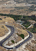 Israel, Golan Heights, winding road climbing up to the high plains