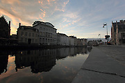 Dusk along the River Leie in the old town of Ghent, in the East Flanders region of Belgium